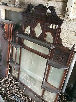 Antique Federation Carved Timber Over Mantle Overmantle Bevelled Mirrors