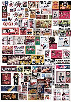 New 1:48 O Scale A4 Uncut Transparent Self Adhesive Vintage Signs Sheet