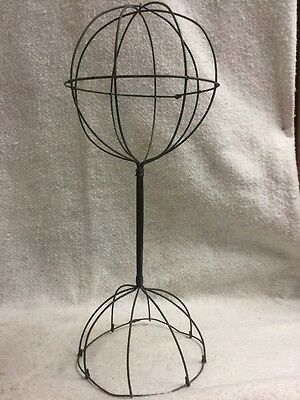 """Vintage Tabletop  Metal Wire Hat/Wig Stand 16"""" Tall Hats Wig Display Ball"""