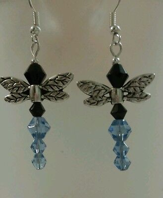 "Dragonfly Earrings Blue 1"" Hook Closure Unique"