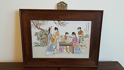 Large Vintage Chinese Framed Painted Ceramic Tile- 3 Imperial Ladies Suitor Maid