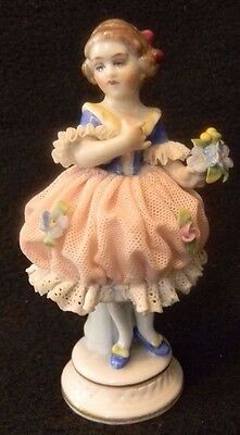 """Antique MULLER """"Young Girl With Flowers"""" PORCELAIN Lace Dresden FIGURINE"""