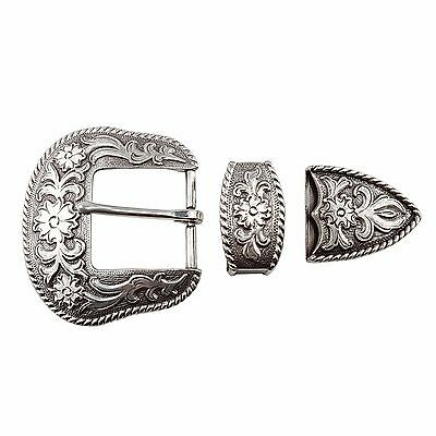 3 pieces Matte Silver finish Western Buckle set