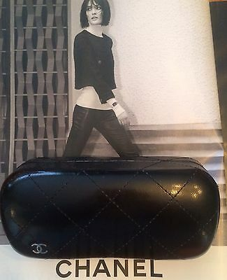 Authentic CHANEL Black quilted Faux-leather sunglasses case Only CC Logo