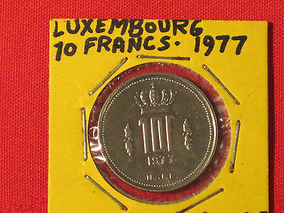 *** 1977  10 Francs coin  /  Luxembourg - Excellent example!  KM# 57