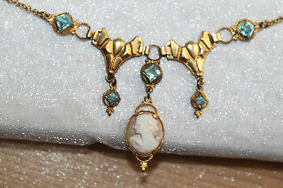Fine Victorian Vintage Gold Filled Aquamarine Paste Shell Cameo Necklace
