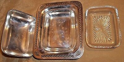 Rare Vintage Pierced Silver Plated Butter Dish Ornate Baskets of Flowers EPC 344