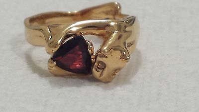 antique victorian  sterling silver gold vermeil  garnet and diamond panther ring