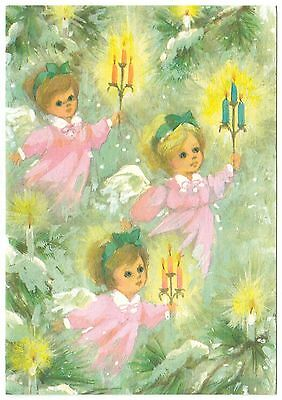 UNUSED Vintage Greeting Card Christmas Angel Candles Pink Dresses L16