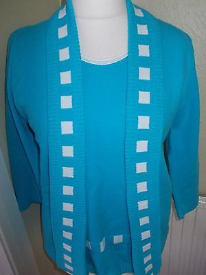 Ladies modern Jumper size 14/16 turquiose blue white thin knit 3/4 sleeves