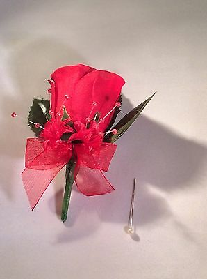 Red Silk Rose Buttonholes - Weddings / Proms Artificial Single Flower