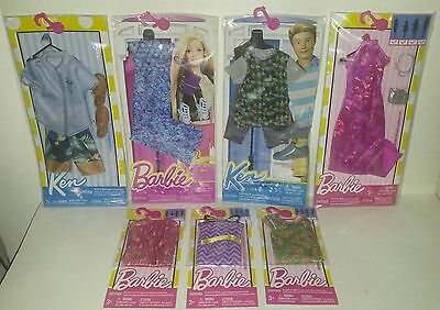 """BARBIE & KEN """"COMPLETE LOOK / SINGLE'S FASHION PACK'S"""" 7-Piece Lot NEW & FREESHP"""