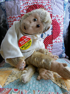 Very Daft Looking Old Fully Jointed Mohair Monkey
