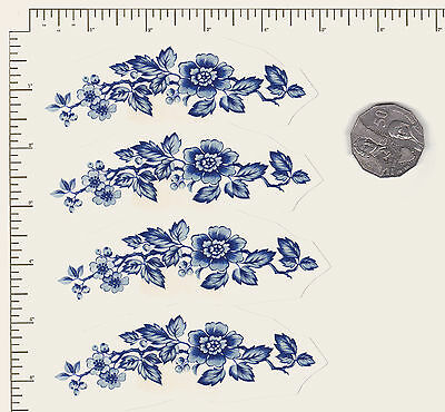 "4 x Waterslide ceramic decals Flowers Floral Blue Oriental 4 1/2"" x 1 1/2""  PD07"