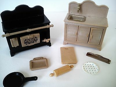 sylvanian families vintage cooker and sink with other accessories
