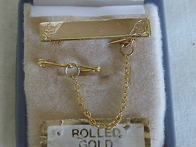 Vintage Baby Girls Rolled Gold Engravable Name Plate Brooch Pin + Safety Chain