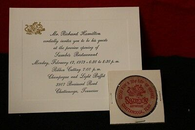 Chattanooga, Tennessee!  Little  Black  Sambo's  Wooden Nickel  And  Invitation!