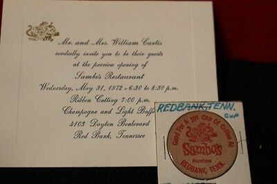 Red Bank,  Tennessee!   Little  Black  Sambo's  Wooden  Nickel  And  Invitation!