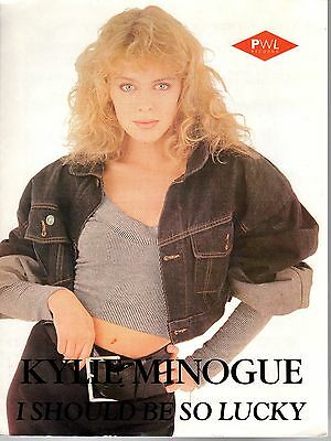 KYLIE MINOGUE I Should Be So Lucky Sheet Music 1987 Stock Aitken Waterman