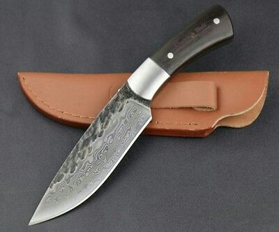 hand forged carbon steel damascus hunting/bushcraft knife