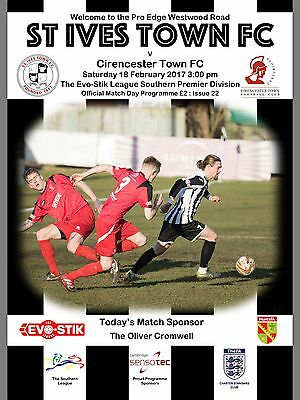St Ives Town v Cirencester Town - Football Programme - 2016/17 - Southern League
