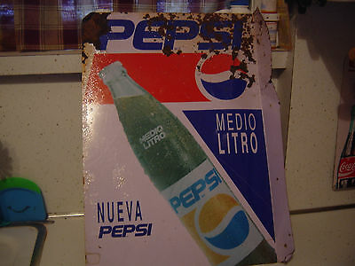 Vintage Pepsi Cola Spanish / Mexican 2 Sided Flange Metal Sign coke