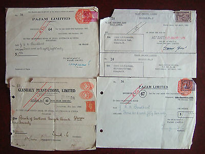 4 x OLD MALAYA / SINGAPORE 1941-1962 STAMPED DIVIDEND CERTIFICATES