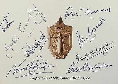 England 1966 World Cup Squad Signed X 8 Gold Medal Card