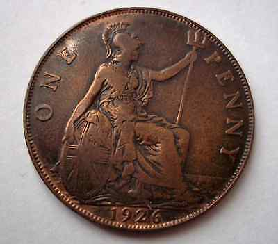 ☛ George V 1926 Penny ~ collectable coin with trace lustre