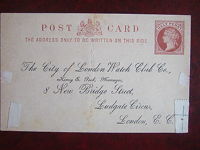 Queen Victoria Pre-Stamped Postcard To Ludgate Circus London Ec