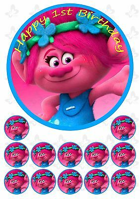 TROLLS POPPY 19CM PERSONALISED Edible Cake Topper PLUS 12 Cupcake Toppers