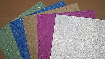 A4 Glitter Card x 12, Gold, Silver, Green, Blue and Pink - Free 1st Class Post