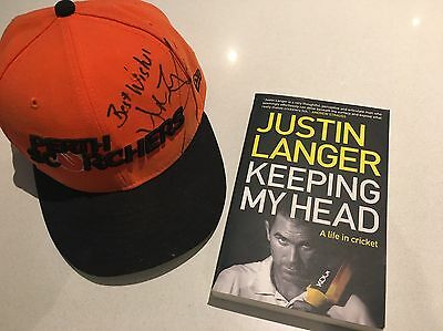 Justin Langer Signed Scorchers Hat And Book NEW