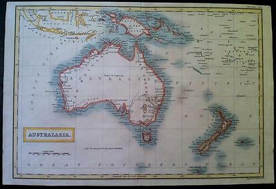 Map of AUSTRALIA c1825 by SIDNEY HALL, original, Hcol, VGC engraved