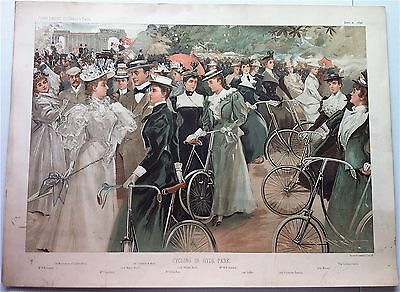 Vanity Fair CYCLING IN HYDE Double Print 1896 Original Litho color print, scarce