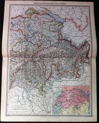 2 Antique Maps colour EASTERN SWITZERLAND & THE ENGADIN-AUSTRIA-HUNGARY c1906