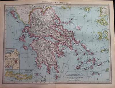 Maps colour GREECE, CRETE & THE ARCHIPELAGO, Norway & Sweden c1906,