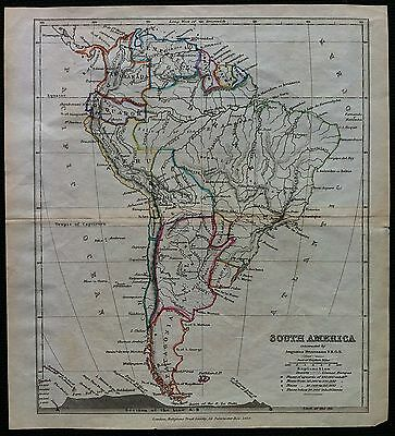 Map of South America c1850 by Augustus Petermann, hand colour, VGC