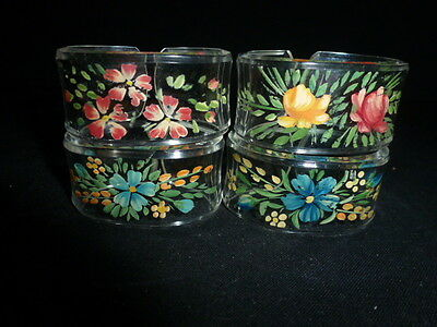 Four Vintage Hand Painted Plastic Napkin Rings