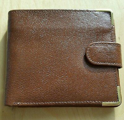 vintage leather wallet, tan, 100% leather, gold corners