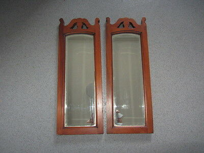 Vintage Wooden Carved Beveled Mirror Pair X 2