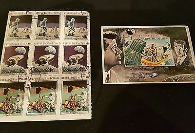 Stamp Set inc Minisheet Chad RARE MINT 1970 Apollo 11 & 12