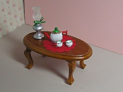 Miniature Dollhouse Furniture Oil Lamp and Teapot with cream and sugar