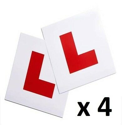 4 x Learner 'L' Plates Self Cling Flat Surface Stick Car Bike Driving NEW Driver