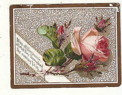 May All Happiness Attend Thee New YEar Pink Rose Emb Victorian Card c 1880s