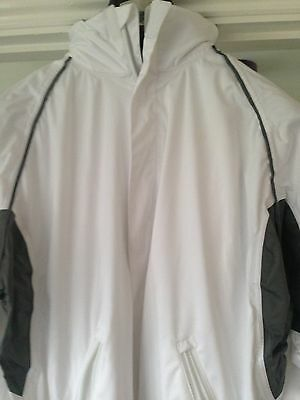 Bowling Jacket White Grey Trim Size Small Breathable And Waterproof