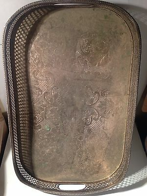 Vintage Silver Plate On Copper Serving Tray (Sheffield)