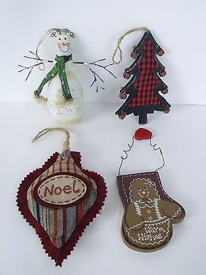 Primitive Country Christmas Ornaments Snowman Tree Ginger Noel Holiday Decor