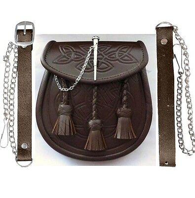 Kilt Sporran Celtic Embossed Brown Leather Latch Pin Detail And Chain For Kilts