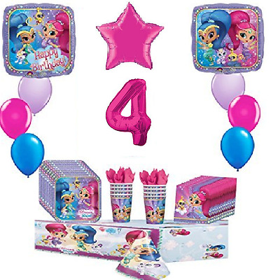 Shimmer and Shine 4th Happy Birthday Party 8 Piece Birthday ultimate Party Pack